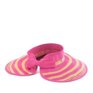 SAN DIEGO HAT Packable Striped Visor IN HOT PINK